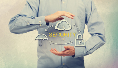 Umbrella, Cloud and Lock for Security Concept