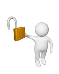 white man with unlock padlock  isolated on white background