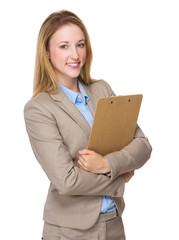 Businesswoman hold with notepad