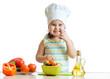 child preparing healthy food in the kitchen
