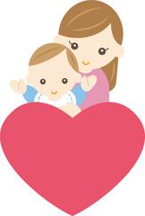 赤ちゃんとお母さんとハート