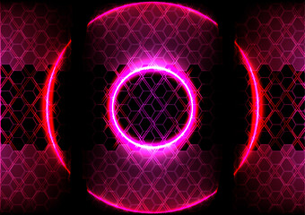 abstract circle lighting and hexagon background technology