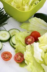 Healthy diet salad preparation