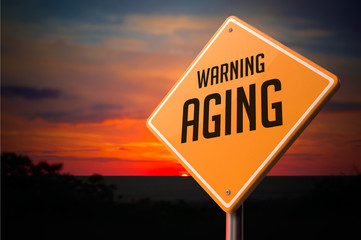 Aging on Warning Road Sign.