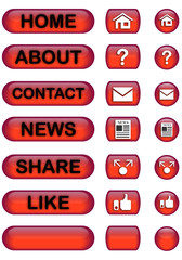 Red Glossy Website Buttons