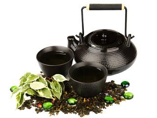 Tea set on white background