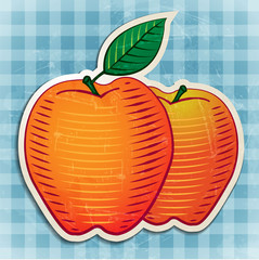vector vintage apples sticker