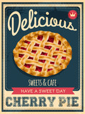vector vintage styled cherry pie poster