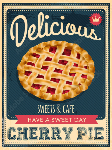 vector vintage styled cherry pie poster - 78943623