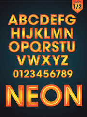 vector shiny neon font part 1