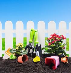 garden tools on the ground
