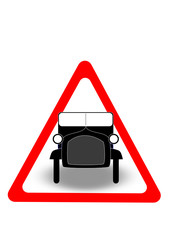 old car warning sign