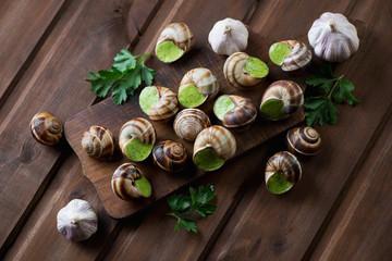 Bourguignonne snail au gratin over dark rustic wooden background