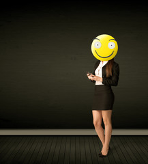 businesswoman with smiley face