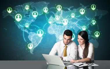 Business couple with social media connection
