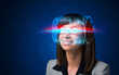 Woman with high tech smart glasses