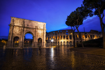 Colosseum and Constantine Arch at Night