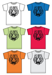 t-shirts in different colors with tiger print