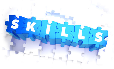 Skills - Word in Blue Color on Volume  Puzzle.