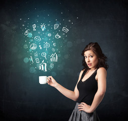 Businesswoman holding a white cup with business icons