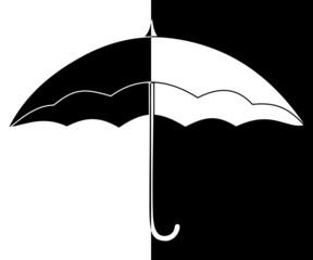 parapluie mi blanc, mi noir