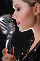 Passionate female rock singer