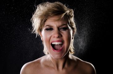 Girl screaming in anger