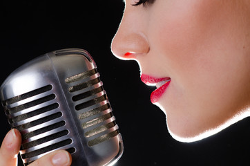 Red sexy lips and retro silver microphone