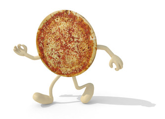 pizza with arms and legs walking