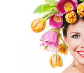 Beauty Spring Girl with Flowers Hair Style. Beautiful Model woma