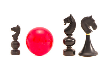 black horse chess  pieces and billiards ball  isolated