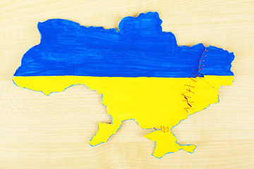 Map of Ukraine - concept of disintegration of the country