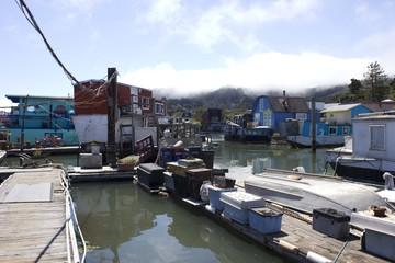 Sausalito houseboats, in San Francisco Bay Area