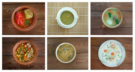 Food set of different soups.
