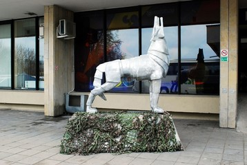 Sculpture in bus station in capital of Lithuania Vilnius city