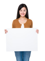 Asian woman show with white board