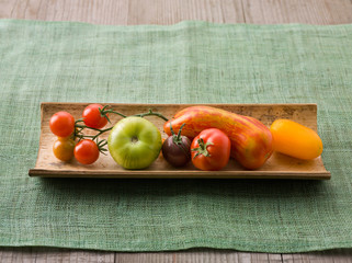 Varieties of Tomatoes on a Plate