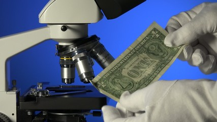 verification of the dollar in the microscope