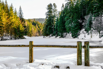 frozen Longemer lake in the Vosges Mountain, France