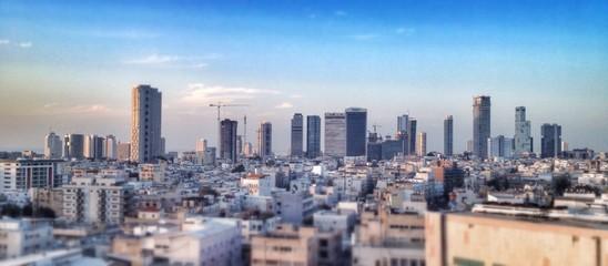 Tel Aviv city skyline at dusk