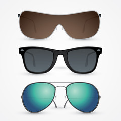 Vector set of sunglasses isolated on white background