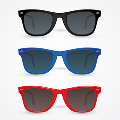 Vector set of hipster sunglasses isolated on white background