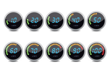 Temperature gauge digital set