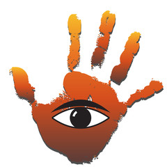 Conceptual human hand print with an eye symbol