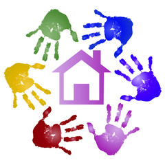 Conceptual children painted hand print and house symbol