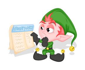 Funny Elf Holding a Holiday Calendar