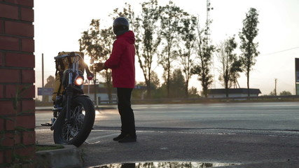 Motorcyclist preparing to leave