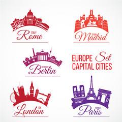 Europe capital cities skylines. Rome Madrid Berlin London Paris
