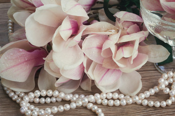 magnolia flowers with pearls