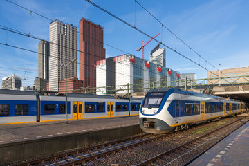 Trains at the central station of The Hague, The Neterlands
